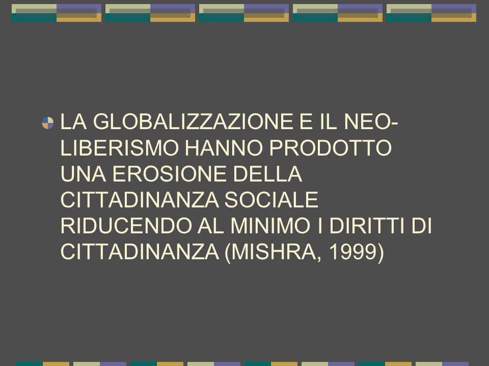 LA GLOBALIZZAZIONE E IL NEO- LIBERISMO HANNO PRODOTTO UNA EROSIONE DELLA CITTADINANZA SOCIALE RIDUCENDO AL MINIMO I DIRITTI DI CITTADINANZA (MISHRA, 1999)