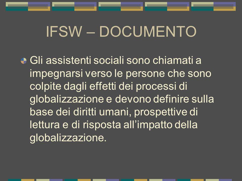IFSW – DOCUMENTO Gli assistenti sociali sono chiamati a impegnarsi verso le persone che sono colpite dagli effetti dei processi di globalizzazione e devono definire sulla base dei diritti umani, prospettive di lettura e di risposta all'impatto della globalizzazione.