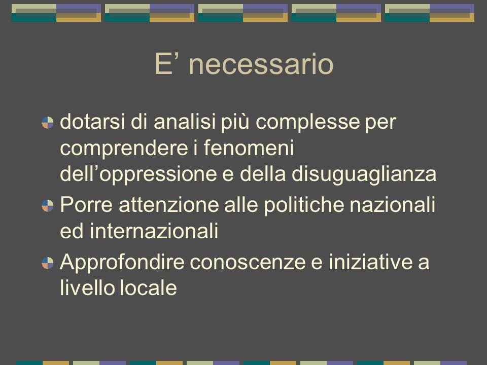 E' necessario dotarsi di analisi più complesse per comprendere i fenomeni dell'oppressione e della disuguaglianza Porre attenzione alle politiche nazionali ed internazionali Approfondire conoscenze e iniziative a livello locale