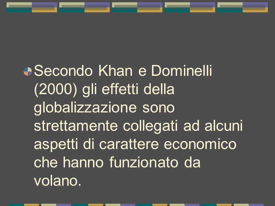 Secondo Khan e Dominelli (2000) gli effetti della globalizzazione sono strettamente collegati ad alcuni aspetti di carattere economico che hanno funzionato da volano.