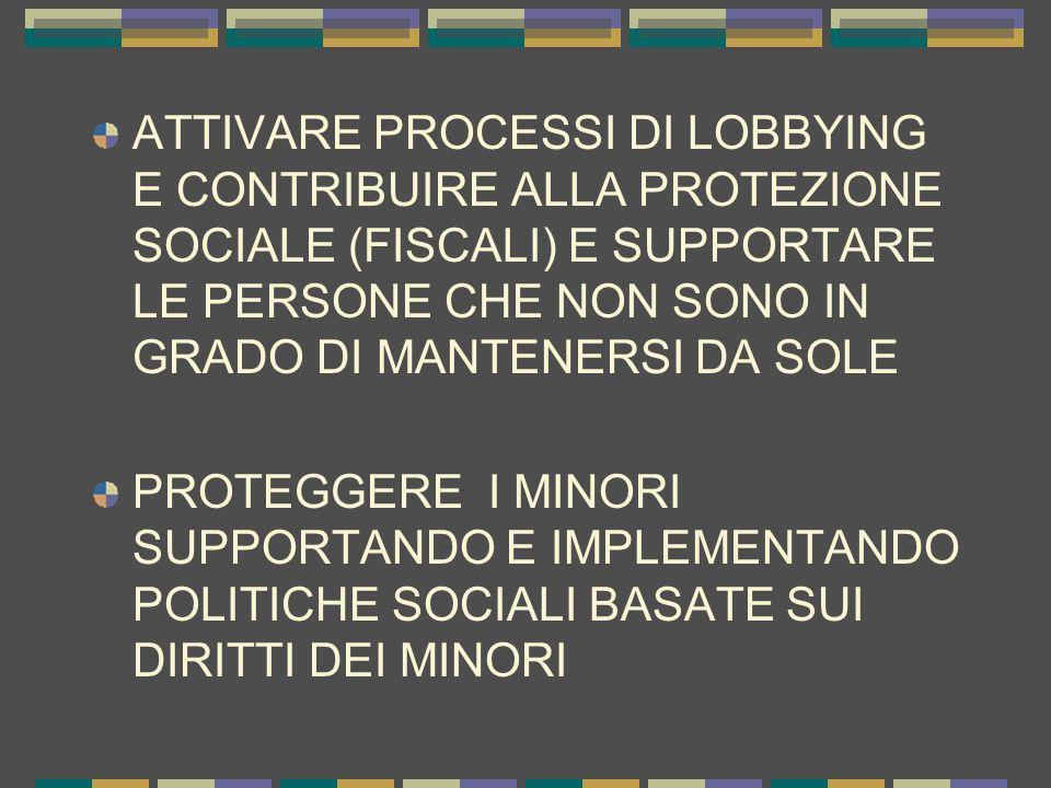 ATTIVARE PROCESSI DI LOBBYING E CONTRIBUIRE ALLA PROTEZIONE SOCIALE (FISCALI) E SUPPORTARE LE PERSONE CHE NON SONO IN GRADO DI MANTENERSI DA SOLE PROTEGGERE I MINORI SUPPORTANDO E IMPLEMENTANDO POLITICHE SOCIALI BASATE SUI DIRITTI DEI MINORI