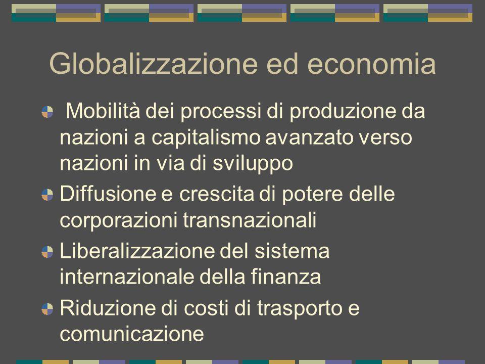 Globalizzazione ed economia Mobilità dei processi di produzione da nazioni a capitalismo avanzato verso nazioni in via di sviluppo Diffusione e crescita di potere delle corporazioni transnazionali Liberalizzazione del sistema internazionale della finanza Riduzione di costi di trasporto e comunicazione