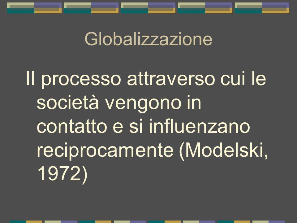 Globalizzazione Il processo attraverso cui le società vengono in contatto e si influenzano reciprocamente (Modelski, 1972)