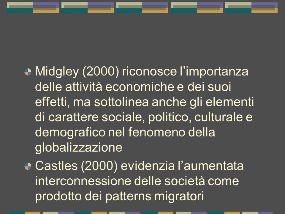 Midgley (2000) riconosce l'importanza delle attività economiche e dei suoi effetti, ma sottolinea anche gli elementi di carattere sociale, politico, culturale e demografico nel fenomeno della globalizzazione Castles (2000) evidenzia l'aumentata interconnessione delle società come prodotto dei patterns migratori