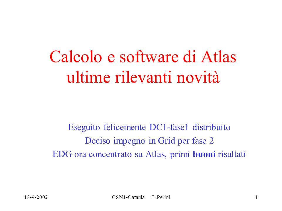 18-9-2002CSN1-Catania L.Perini32 Il futuro DC1-2 ricostruzione dei dati, < 1/10 CPU DC1-1 –Inizio a fine novembre, dati nei siti protoTier1, uso di Grid, da decidere come e quando nel meeting del 19 settembre e subito dopo –Ipotesi uso di GRID tool compatibili ma diversi, con interoperabilità tramite lavoro EDT-IvDGL (demo EU-US con Atlas applications previste in Novembre) : sarebbe anche in primo test della linea GLUE/LCG Quanto pileup e Geant4 sarà compreso in DC1-2 (da concludersi a Gen02) ancora da decidere, il resto per DC2 dopo la metà 2003 Risorse INFN-ATLAS Tier1+Tier2(Mi+Roma1) a 120 CPU's a 300 per assicurare share 10% in DC2: – 140 Tier1, 80 Mi, 50 Roma1, 30 altre sedi (Napoli e LNF hanno partecipato a DC1-1 con 16 e 10 CPU rispettivamente) sarebbero raggiunti con richieste 2003 (Tier1+LCG): ma Roma1 dovra' almeno raggiungere Milano: il numero di Tier2 potrebbe crescere (già in 2003?).