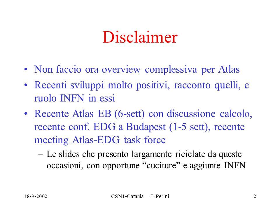 18-9-2002CSN1-Catania L.Perini2 Disclaimer Non faccio ora overview complessiva per Atlas Recenti sviluppi molto positivi, racconto quelli, e ruolo INFN in essi Recente Atlas EB (6-sett) con discussione calcolo, recente conf.