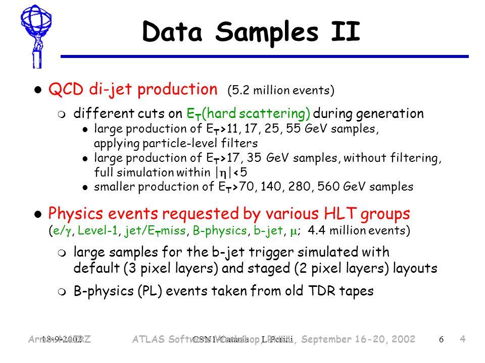 18-9-2002CSN1-Catania L.Perini7 Data produced SampleTypeEventsCPU NCU days Storage ValidationSingle0.7 M75853 GB Physics44 K16357 GB High StatisticsSingle27 M530540 GB Physics6.2 M4063513.2 TB Medium StatisticsSingle2.7 M9502119 GB Physics4.4 M250959.0 TB TotalSingle30.4 M107900.7 GB Physics10.5 M6589322.2 TB Grand Total7668322.9 As of ~30 August1ncu ~ 1 PIII 500 MHz