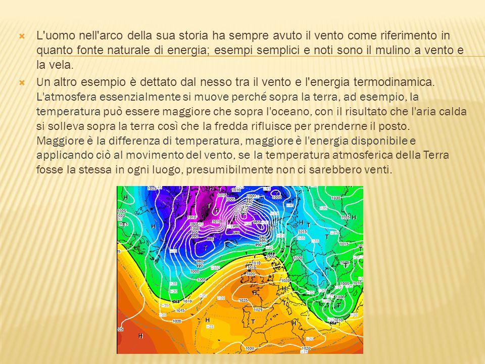  Il vento è il movimento di una massa d'aria atmosferica in verticale (moti convettivi) o in orizzontale (cicloni o anticicloni).