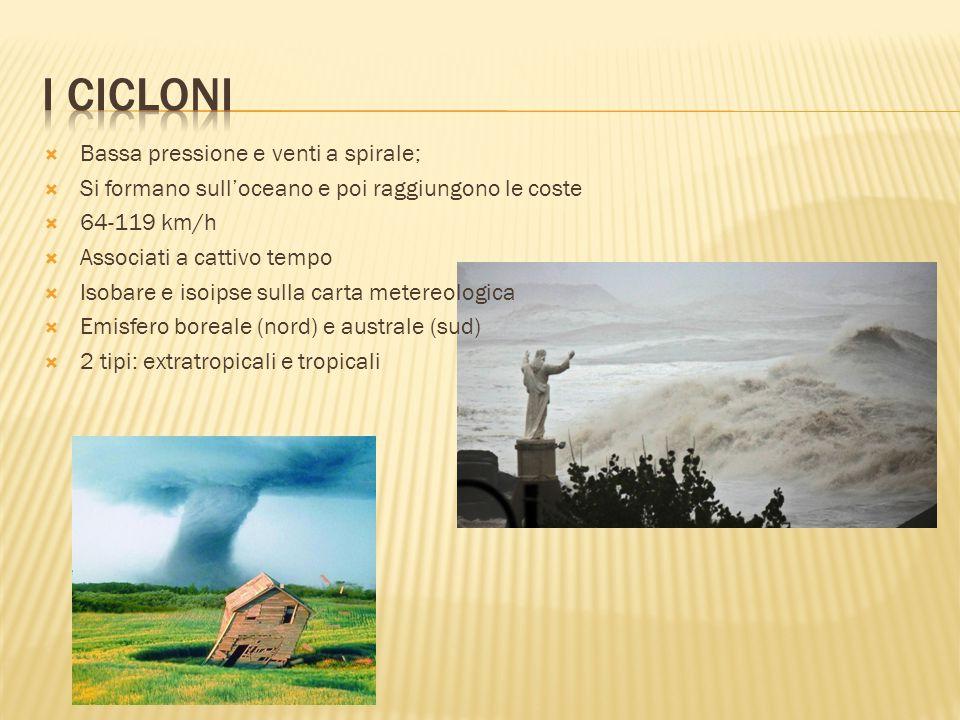 L' OCCHI DEL CICLONE Da 5 a 30 m diametro Le TORRI CALDE