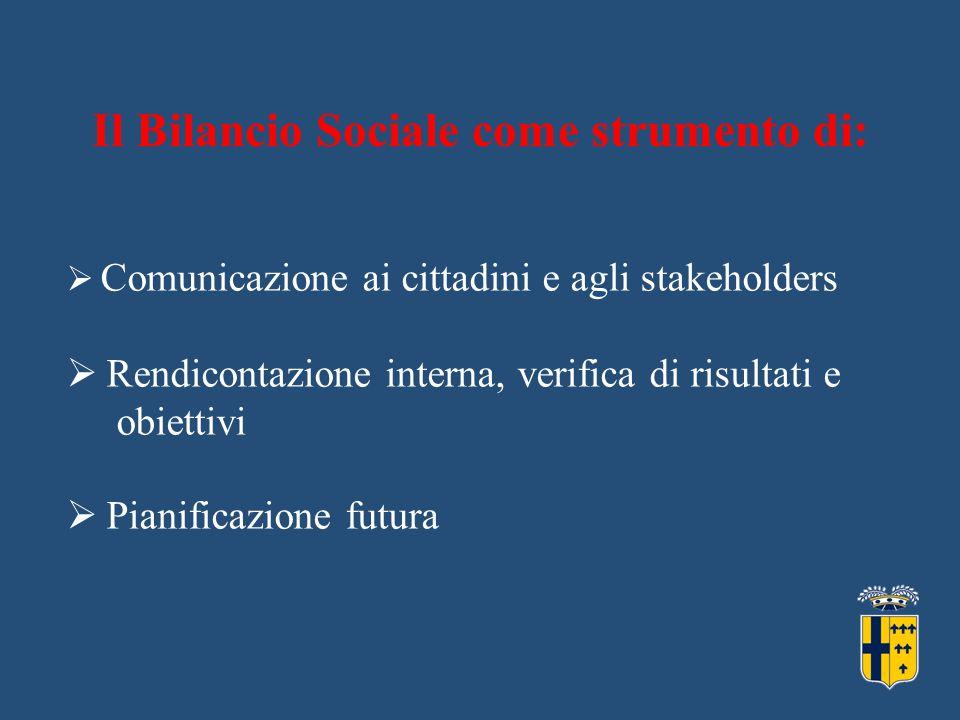  Comunicazione ai cittadini e agli stakeholders  Rendicontazione interna, verifica di risultati e obiettivi  Pianificazione futura Il Bilancio Sociale come strumento di: