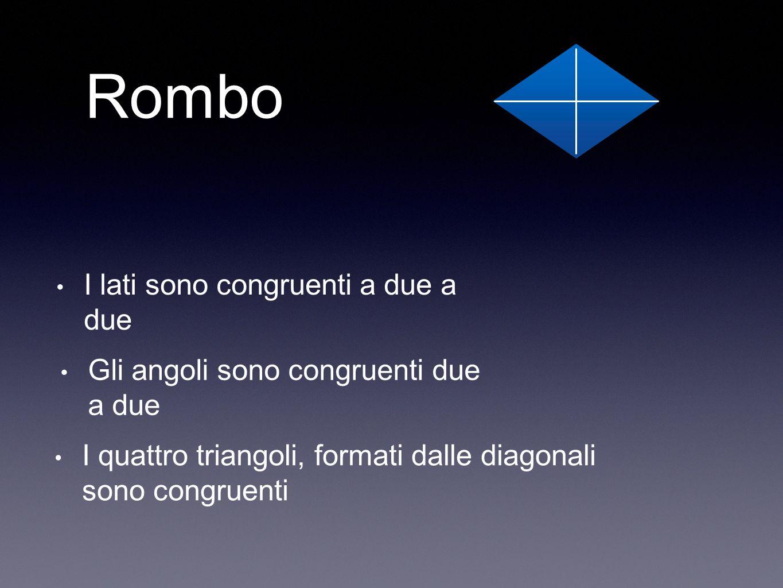 Rombo I lati sono congruenti a due a due Gli angoli sono congruenti due a due I quattro triangoli, formati dalle diagonali sono congruenti