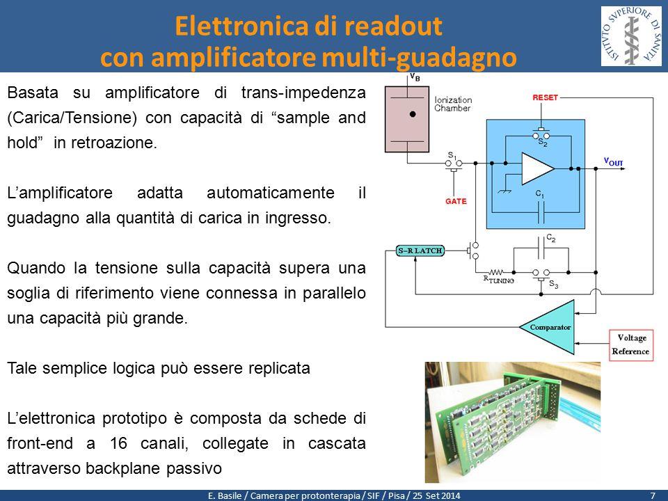 """E. Basile / Camera per protonterapia / SIF / Pisa / 25 Set 2014 Basata su amplificatore di trans-impedenza (Carica/Tensione) con capacità di """"sample a"""