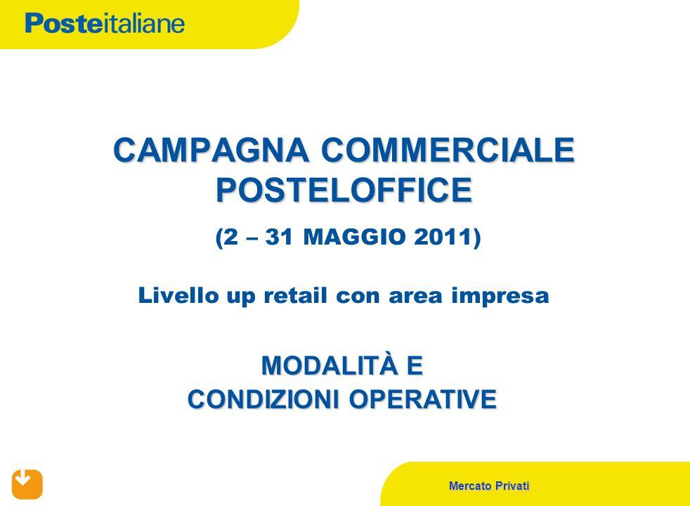 Mercato Privati CAMPAGNA COMMERCIALE POSTELOFFICE CAMPAGNA COMMERCIALE POSTELOFFICE (2 – 31 MAGGIO 2011) Livello up retail con area impresa MODALITÀ E