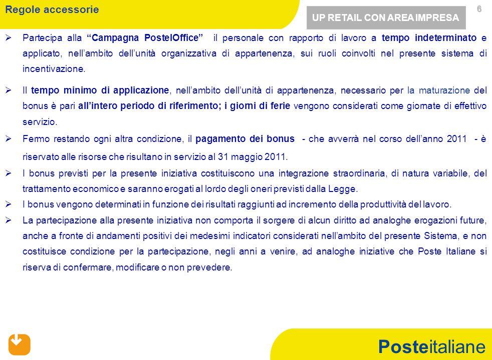 Posteitaliane 6 6   Partecipa alla Campagna PostelOffice il personale con rapporto di lavoro a tempo indeterminato e applicato, nell'ambito dell'unità organizzativa di appartenenza, sui ruoli coinvolti nel presente sistema di incentivazione.
