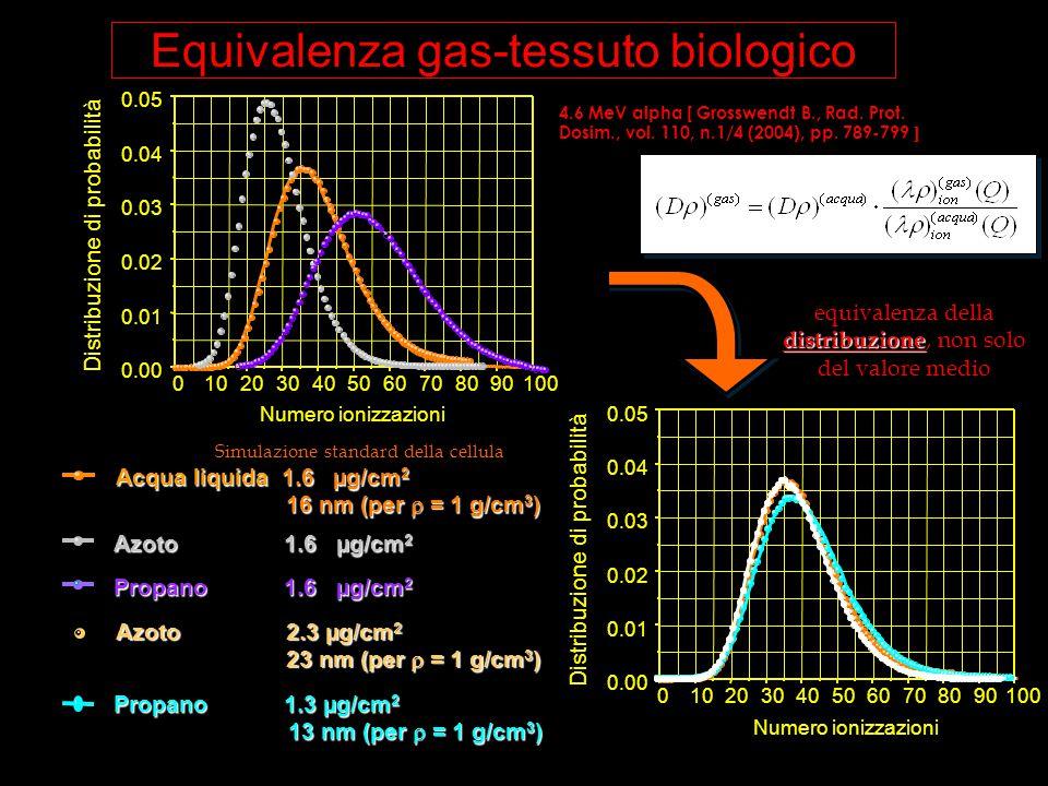 Equivalenza gas-tessuto biologico 0102030405060708090100 0.00 0.01 0.02 0.03 0.04 0.05 Numero ionizzazioni Distribuzione di probabilità Numero ionizza