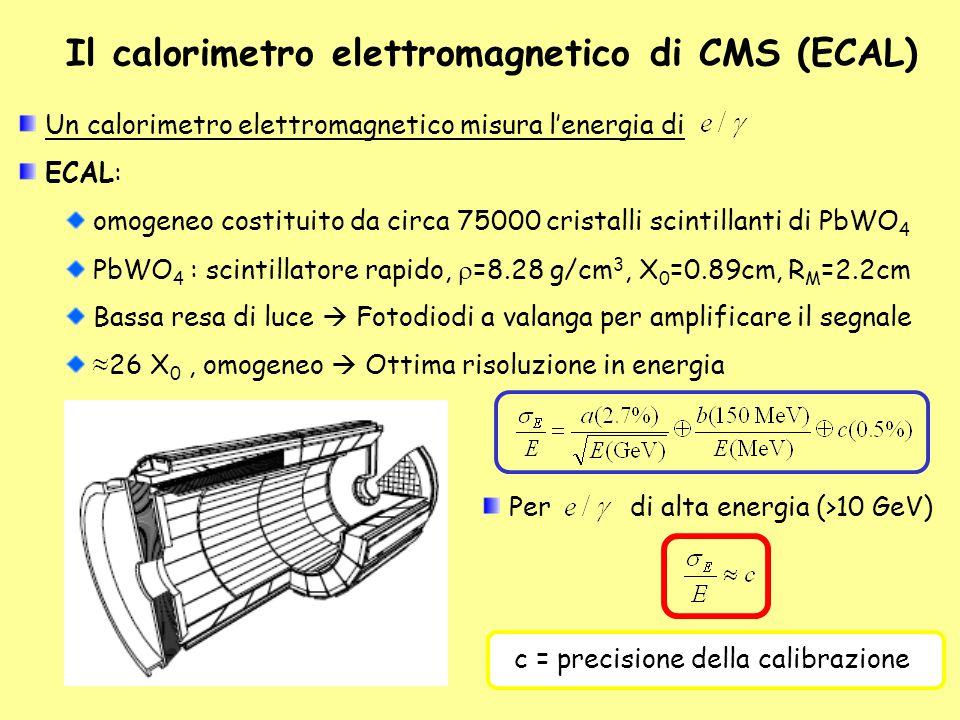 Il calorimetro elettromagnetico di CMS (ECAL) Un calorimetro elettromagnetico misura l'energia di ECAL: omogeneo costituito da circa 75000 cristalli s