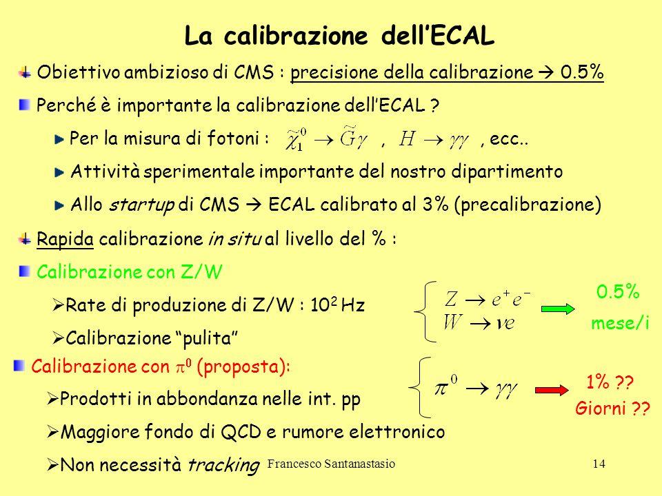 Francesco Santanastasio14 La calibrazione dell'ECAL Obiettivo ambizioso di CMS : precisione della calibrazione  0.5% Perché è importante la calibrazi