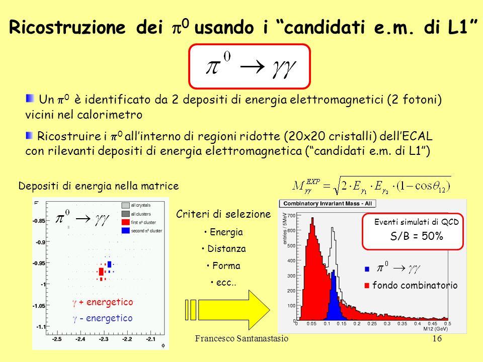 """Francesco Santanastasio16 Ricostruzione dei  0 usando i """"candidati e.m. di L1"""" Un  0 è identificato da 2 depositi di energia elettromagnetici (2 fot"""