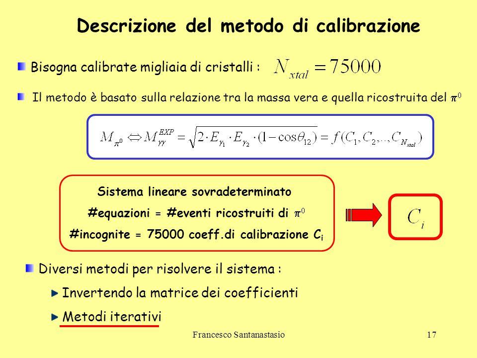 Francesco Santanastasio17 Descrizione del metodo di calibrazione Il metodo è basato sulla relazione tra la massa vera e quella ricostruita del   Sis