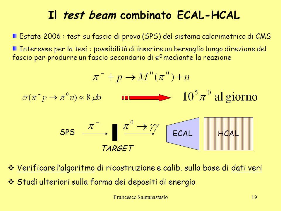 Francesco Santanastasio19 Il test beam combinato ECAL-HCAL Estate 2006 : test su fascio di prova (SPS) del sistema calorimetrico di CMS Interesse per