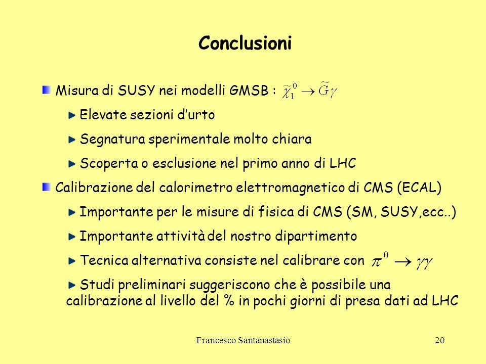 Francesco Santanastasio20 Conclusioni Misura di SUSY nei modelli GMSB : Elevate sezioni d'urto Segnatura sperimentale molto chiara Scoperta o esclusio