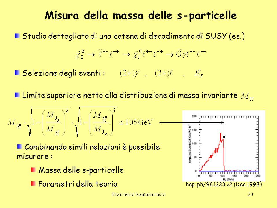 Francesco Santanastasio23 Misura della massa delle s-particelle Studio dettagliato di una catena di decadimento di SUSY (es.) Limite superiore netto a
