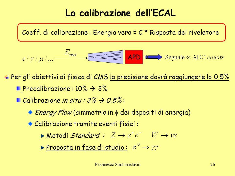 Francesco Santanastasio26 La calibrazione dell'ECAL Coeff. di calibrazione : Energia vera = C * Risposta del rivelatore APD Per gli obiettivi di fisic