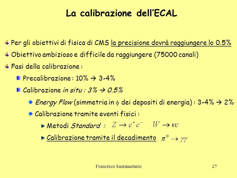 Francesco Santanastasio27 La calibrazione dell'ECAL Per gli obiettivi di fisica di CMS la precisione dovrà raggiungere lo 0.5% Obiettivo ambizioso e d
