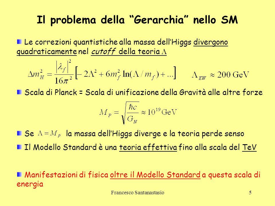 Francesco Santanastasio6 La Supersimmetria (SUSY) Simmetria aggiuntiva tra bosoni e fermioni Nuove particelle : S-particelle, partner supersimmetrici delle particelle dello SM Risoluzione del problema gerarchico  Cancellazione dei termini divergenti in Se SUSY fosse esatta  Le s-particelle non sono state mai osservate fino ad ora  SUSY è una simmetria rotta in natura Minima estensione supersimmetrica del Modello Standard (MSSM)