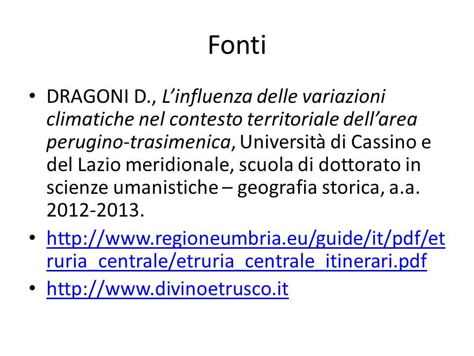 Fonti DRAGONI D., L'influenza delle variazioni climatiche nel contesto territoriale dell'area perugino-trasimenica, Università di Cassino e del Lazio