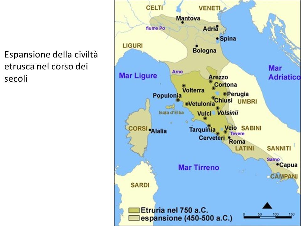 Espansione della civiltà etrusca nel corso dei secoli