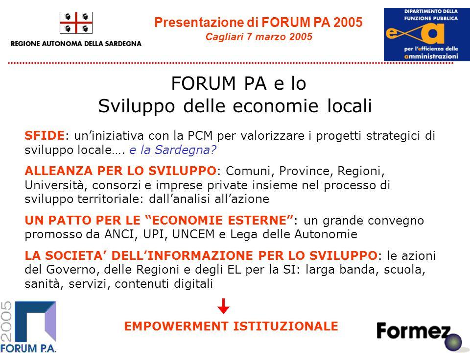 Presentazione di FORUM PA 2005 Cagliari 7 marzo 2005 FORUM PA e lo Sviluppo delle economie locali SFIDE: un'iniziativa con la PCM per valorizzare i progetti strategici di sviluppo locale….