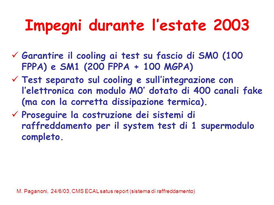 M. Paganoni, 24/6/03, CMS ECAL satus report (sistema di raffreddamento) Impegni durante l'estate 2003 Garantire il cooling ai test su fascio di SM0 (1