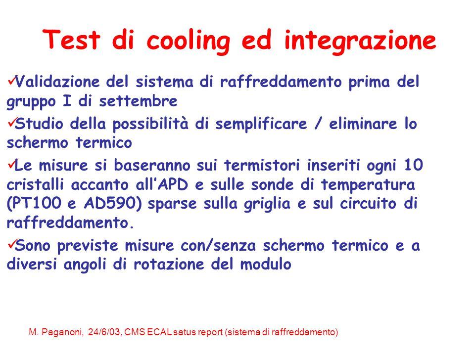 M. Paganoni, 24/6/03, CMS ECAL satus report (sistema di raffreddamento) Validazione del sistema di raffreddamento prima del gruppo I di settembre Stud