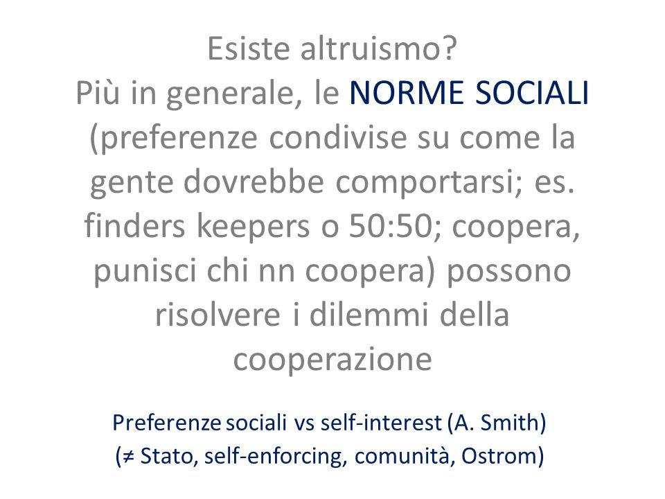 Esiste altruismo? Più in generale, le NORME SOCIALI (preferenze condivise su come la gente dovrebbe comportarsi; es. finders keepers o 50:50; coopera,