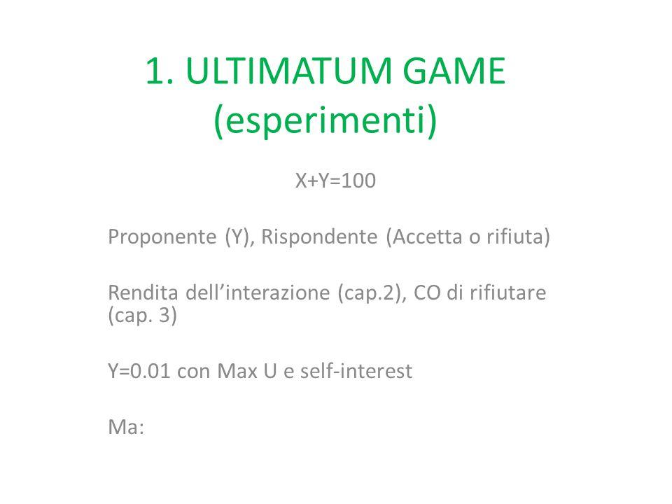 1. ULTIMATUM GAME (esperimenti) X+Y=100 Proponente (Y), Rispondente (Accetta o rifiuta) Rendita dell'interazione (cap.2), CO di rifiutare (cap. 3) Y=0