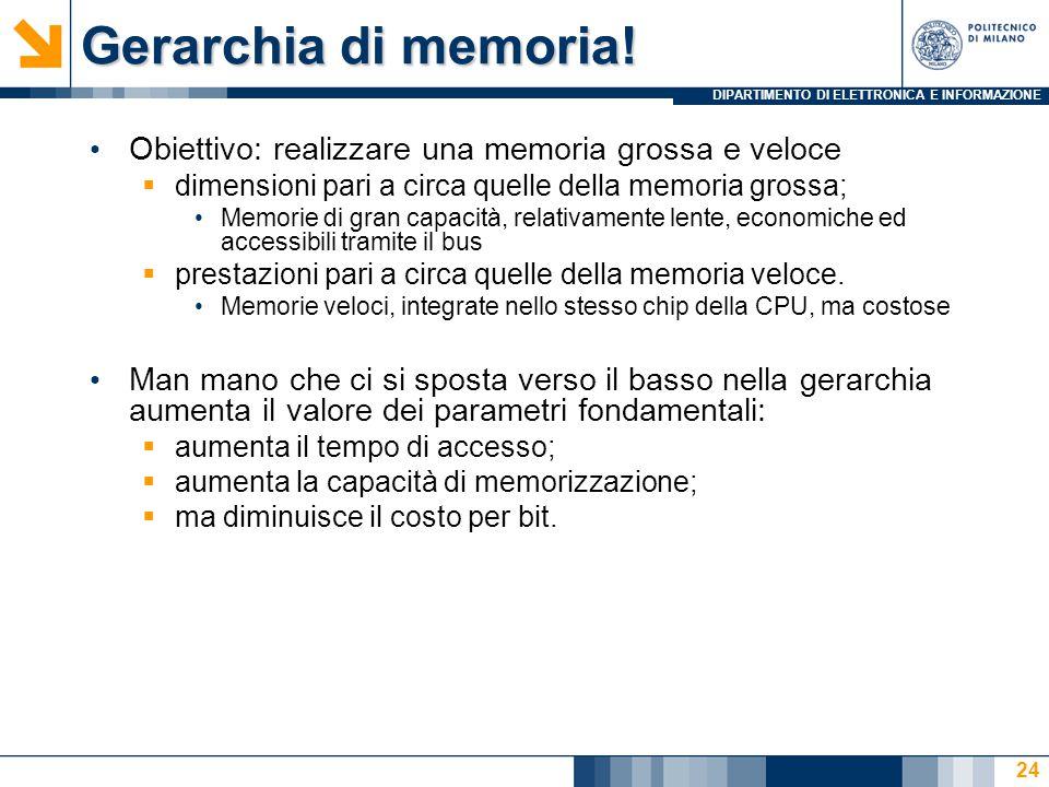 DIPARTIMENTO DI ELETTRONICA E INFORMAZIONE Gerarchia di memoria! 24 Obiettivo: realizzare una memoria grossa e veloce  dimensioni pari a circa quelle