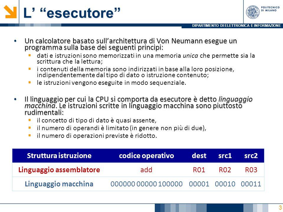 """DIPARTIMENTO DI ELETTRONICA E INFORMAZIONE L' """"esecutore"""" Un calcolatore basato sull'architettura di Von Neumann esegue un programma sulla base dei se"""