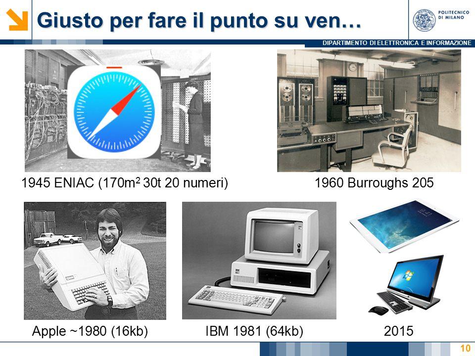 DIPARTIMENTO DI ELETTRONICA E INFORMAZIONE Giusto per fare il punto su ven… 10 1945 ENIAC (170m 2 30t 20 numeri)1960 Burroughs 205 Apple ~1980 (16kb)I