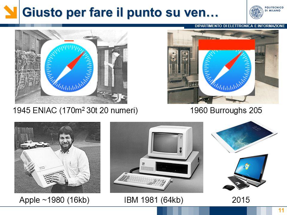DIPARTIMENTO DI ELETTRONICA E INFORMAZIONE Giusto per fare il punto su ven… 11 1945 ENIAC (170m 2 30t 20 numeri)1960 Burroughs 205 Apple ~1980 (16kb)I