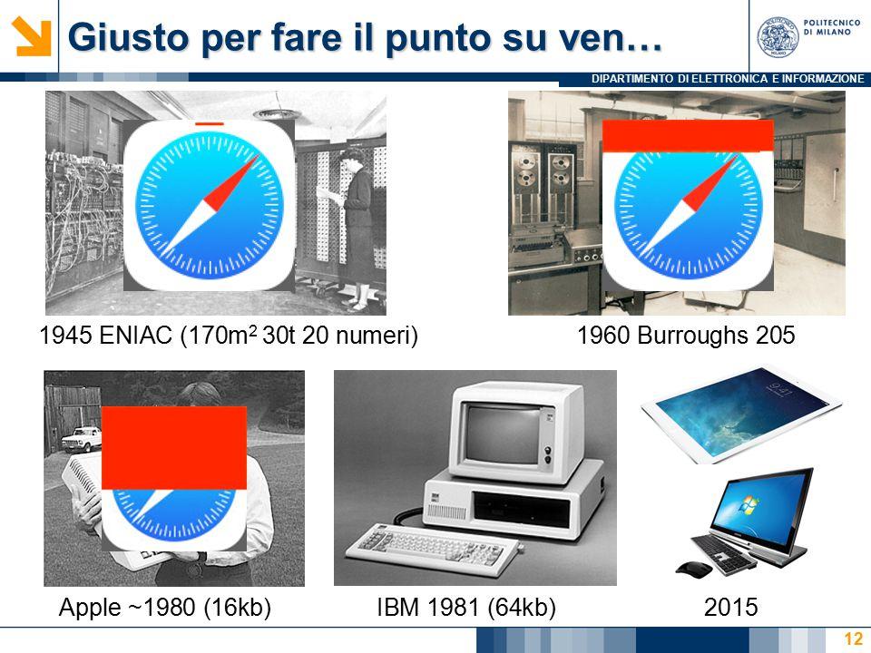 DIPARTIMENTO DI ELETTRONICA E INFORMAZIONE Giusto per fare il punto su ven… 12 1945 ENIAC (170m 2 30t 20 numeri)1960 Burroughs 205 Apple ~1980 (16kb)I