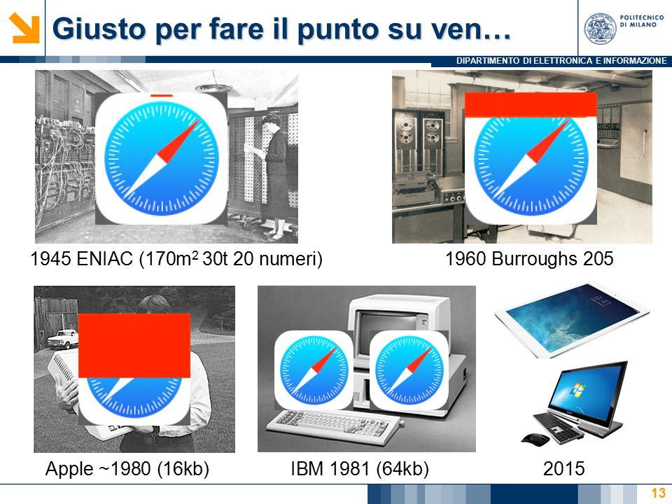 DIPARTIMENTO DI ELETTRONICA E INFORMAZIONE Giusto per fare il punto su ven… 13 1945 ENIAC (170m 2 30t 20 numeri)1960 Burroughs 205 Apple ~1980 (16kb)I