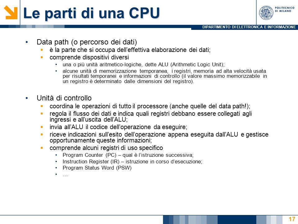 DIPARTIMENTO DI ELETTRONICA E INFORMAZIONE Le parti di una CPU Data path (o percorso dei dati)  è la parte che si occupa dell'effettiva elaborazione
