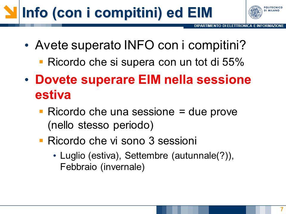 DIPARTIMENTO DI ELETTRONICA E INFORMAZIONE 58 int dati[DIM]; int *valori; In memoria, macchina a 32bit, e.g.