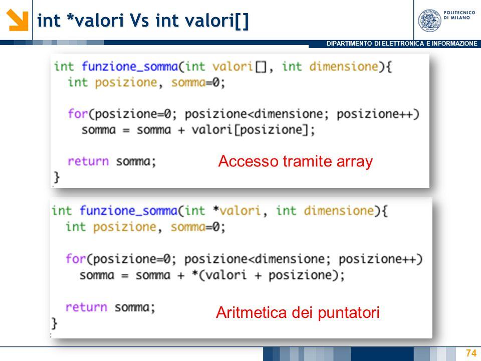 DIPARTIMENTO DI ELETTRONICA E INFORMAZIONE int *valori Vs int valori[] 74 Aritmetica dei puntatori Accesso tramite array