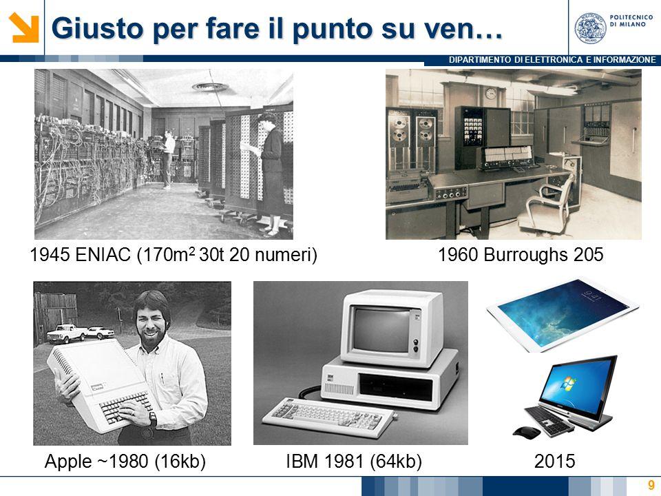 DIPARTIMENTO DI ELETTRONICA E INFORMAZIONE Giusto per fare il punto su ven… 9 1945 ENIAC (170m 2 30t 20 numeri)1960 Burroughs 205 Apple ~1980 (16kb)IB