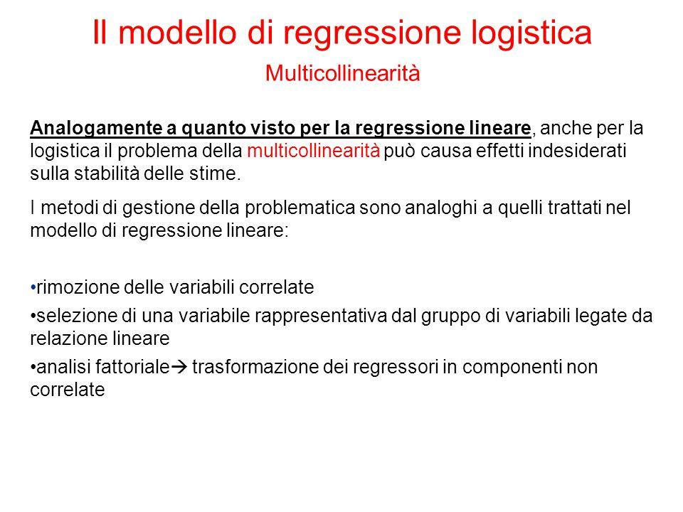 Analogamente a quanto visto per la regressione lineare, anche per la logistica il problema della multicollinearità può causa effetti indesiderati sulla stabilità delle stime.