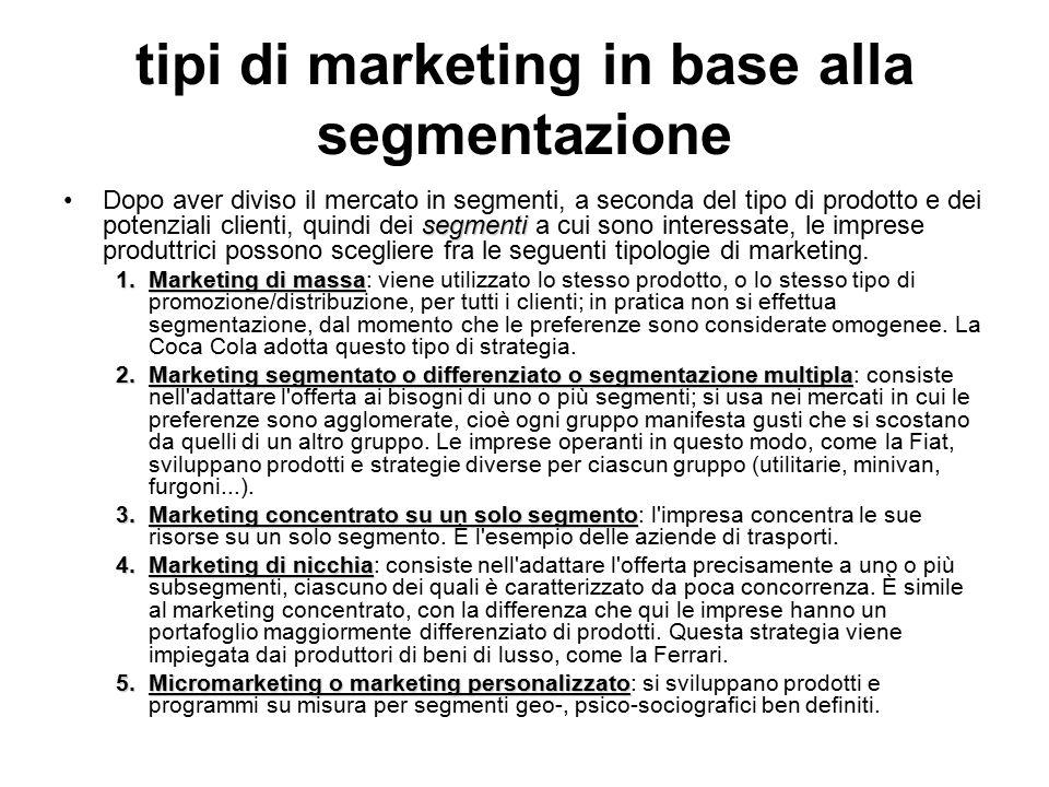 tipi di marketing in base alla segmentazione segmentiDopo aver diviso il mercato in segmenti, a seconda del tipo di prodotto e dei potenziali clienti, quindi dei segmenti a cui sono interessate, le imprese produttrici possono scegliere fra le seguenti tipologie di marketing.