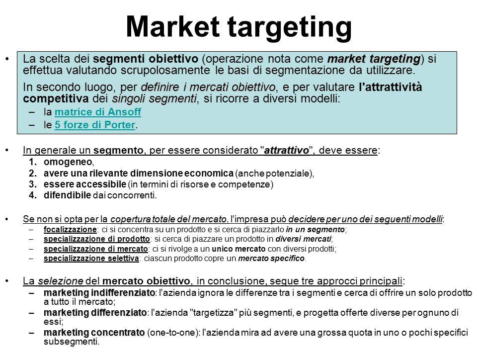 Market targeting market targeting definire i mercati obiettivo singoli segmentiLa scelta dei segmenti obiettivo (operazione nota come market targeting