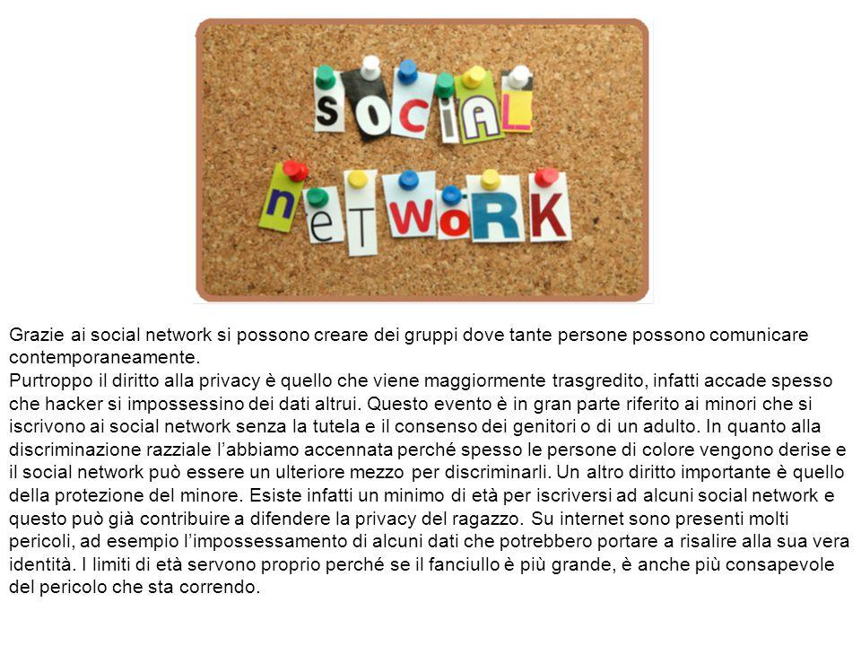 Grazie ai social network si possono creare dei gruppi dove tante persone possono comunicare contemporaneamente.